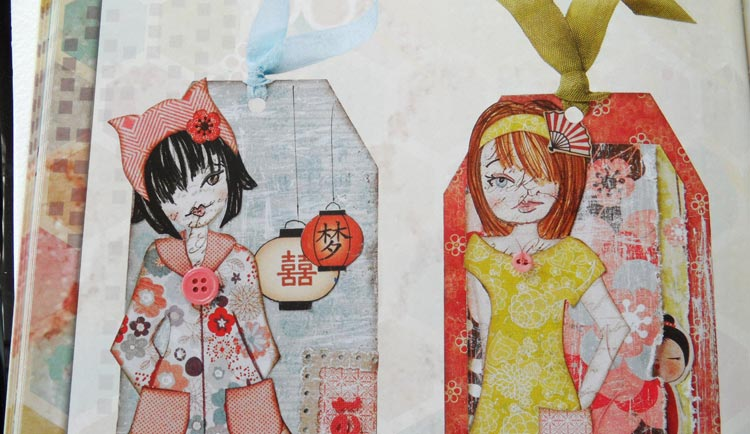 Collage Couture Studio Paper Dolls - tags made with the dolls