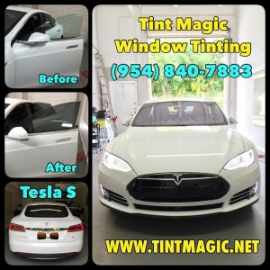 Tesla S Window Tinting at Tint Magic Coral Springs