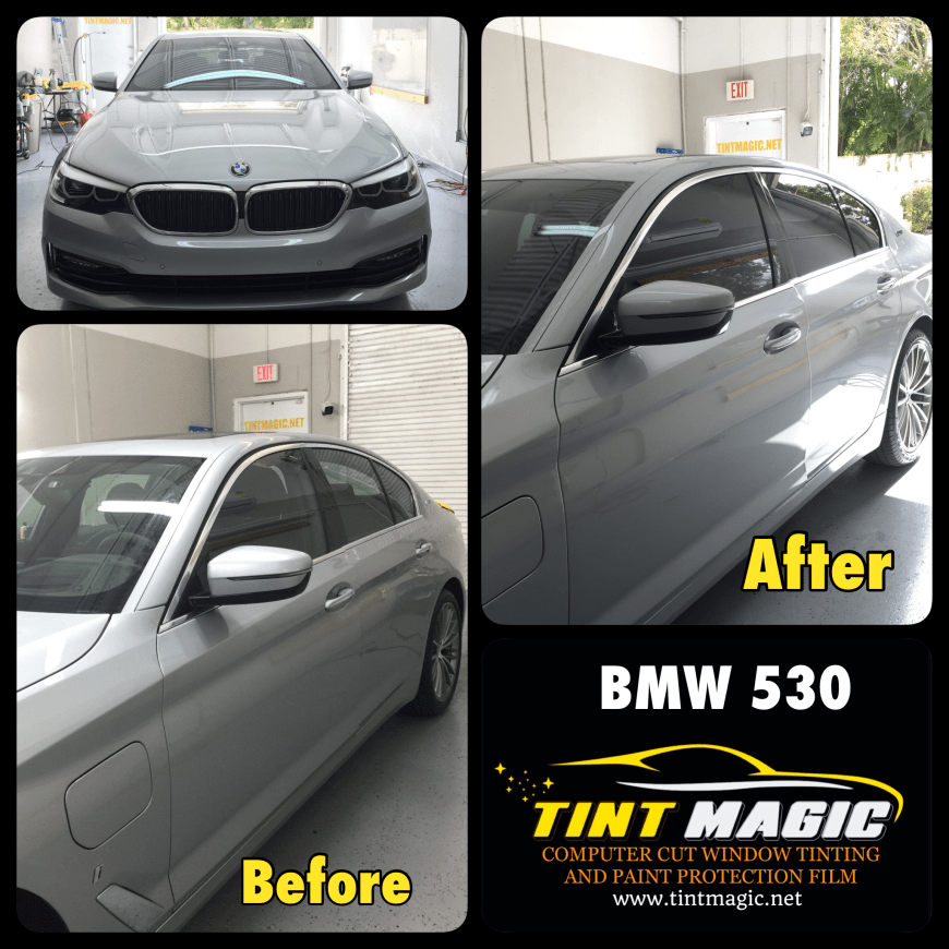 BMW 530 Window Tinting at Tint Magic Window Tinting Coral Springs.