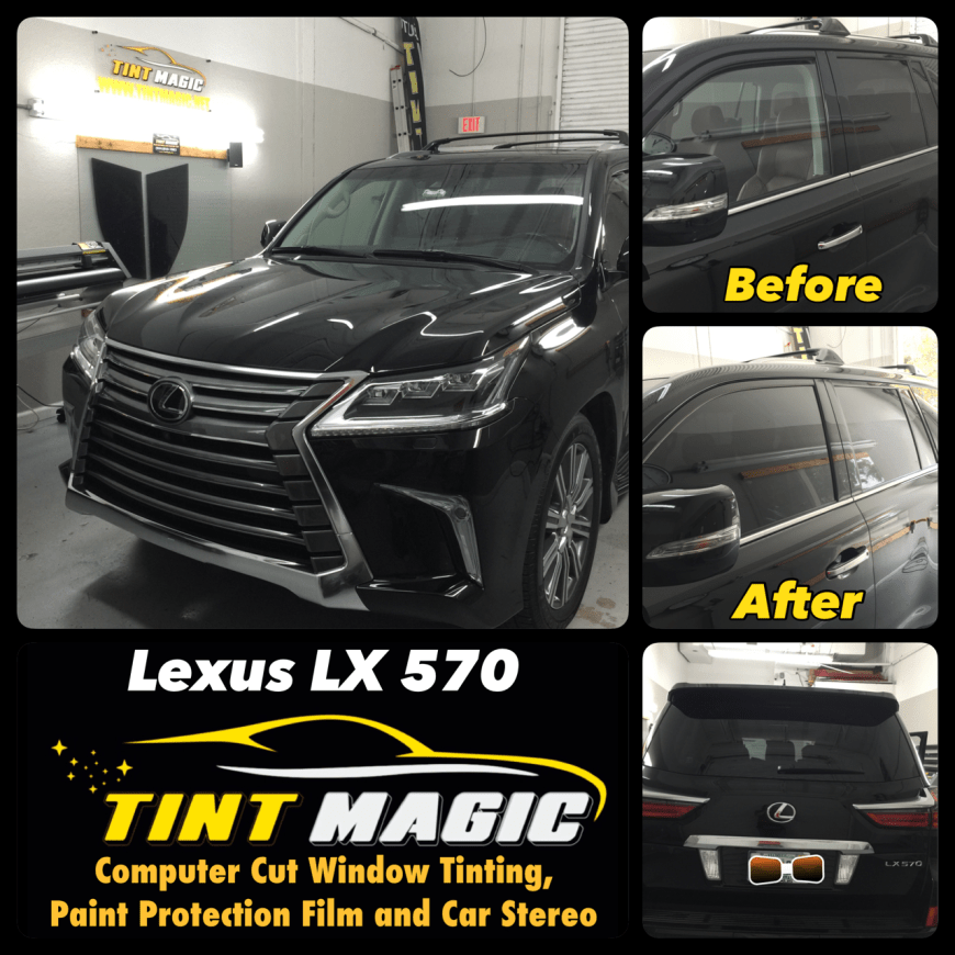 Car window tinting on Lexus LX570 at Tint Magic Window Tinting Coral Springs