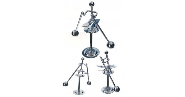 Snow Skier Silver Balancing Mini : Balance Wire Metal Chrome