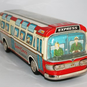 Nomura Shinkosha Japan 60's Super Coach Bus 205 Scenicruiser Battery Operated 15.75 inches (40 cm) original tin toy bus