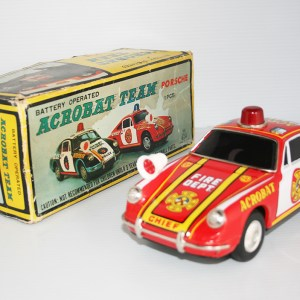 Toplay TPS 60's Porsche 911 S Acrobat Team in Box Battery Operated 10 inches (25.5 cm) original tin toy car