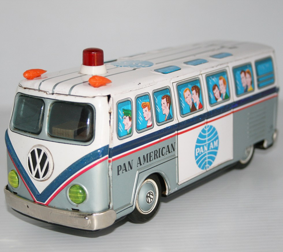 Takatoku T.T 60's Volkswagen Transporter by PAN AMERICAN (PAN-AM) Battery Operated 9.5 inches (24 cm) original tin toy car