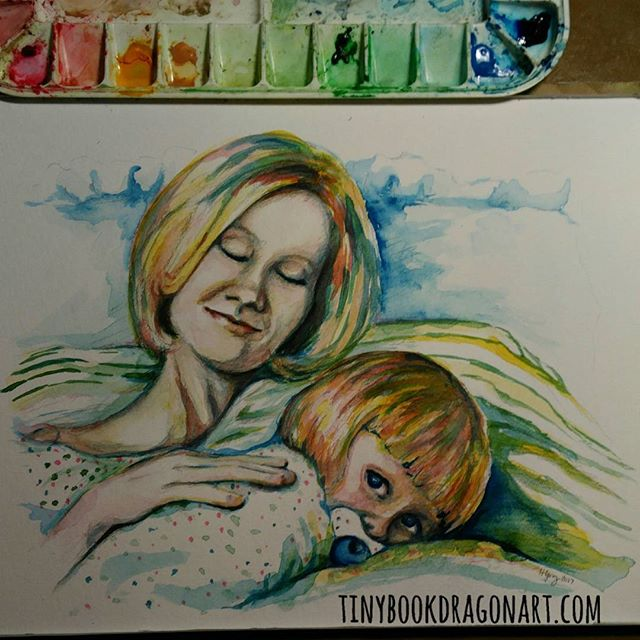 Inspired by the gorgeous old photo @mwunderpants posted on Facebook today.#Watercolor on paper. #threecolorpainting #motherhood #cuddles #toddler #sleepy #art #fineartist #fineart #illustration #artist
