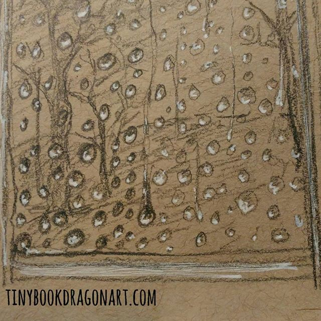 Back on the #drawingchallenge schedule. We'll see if I stick with it. #marchdrawingchallenge2017 with #thesketchcollective Day 1: #glass .It is pouring rain so sketched raindrops on the window..#sketchbook #sketch #drawingpractice #art #illustration #rain #raindrop