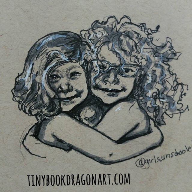 Sisterly love (momentarily). Inspired by @girls_unschooled and her super fun daughters..#art #artistofig #illustration #illustrationart #drawing #sketchbook #sketch #kidlitart #sisters #love #hug #curlyhair #naturalcurls