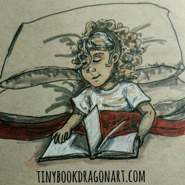 A Good Book..Inspired by @unschoolme (drew on Friday- been too busy to post.).#art #drawing #illustration #illustrationart #sketchbook #sketch #book #read #reading #goodbook #kidlitart