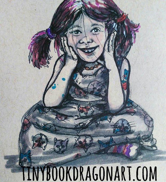 Inspired by @thefairlylocalvegan ..#art #sketchbook #sketches #kidlitart #illustration #blickartmaterials #markers #prismacolor #ink #strathmore #tonedpaper #cat #child #childrensillustration