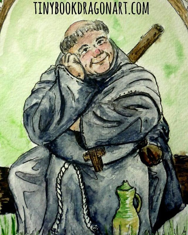 #illustration I did for  @infiniteroberta 's #Sherwoodshowdown #cardgame ages ago..#art #friartuck #robinhood #illustrationart #painting #Watercolor #oldart