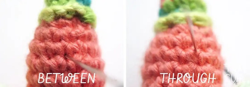 Face embroidery for the free amigurumi pattern of Party Snail. Showing the difference of going between stitches and through stitches.