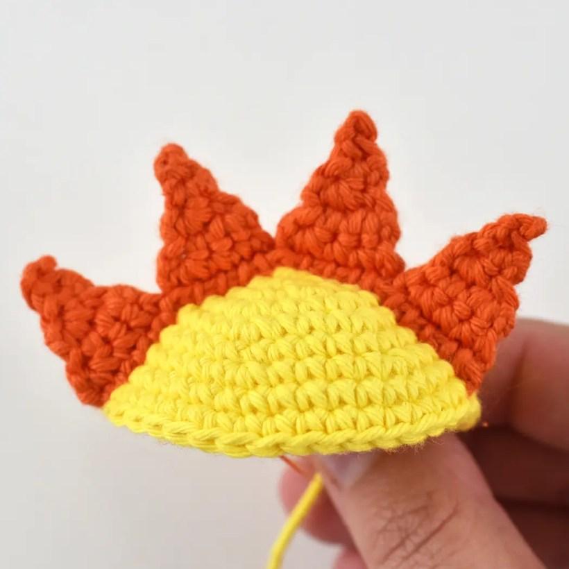 yellow and orange crocheted sun hat