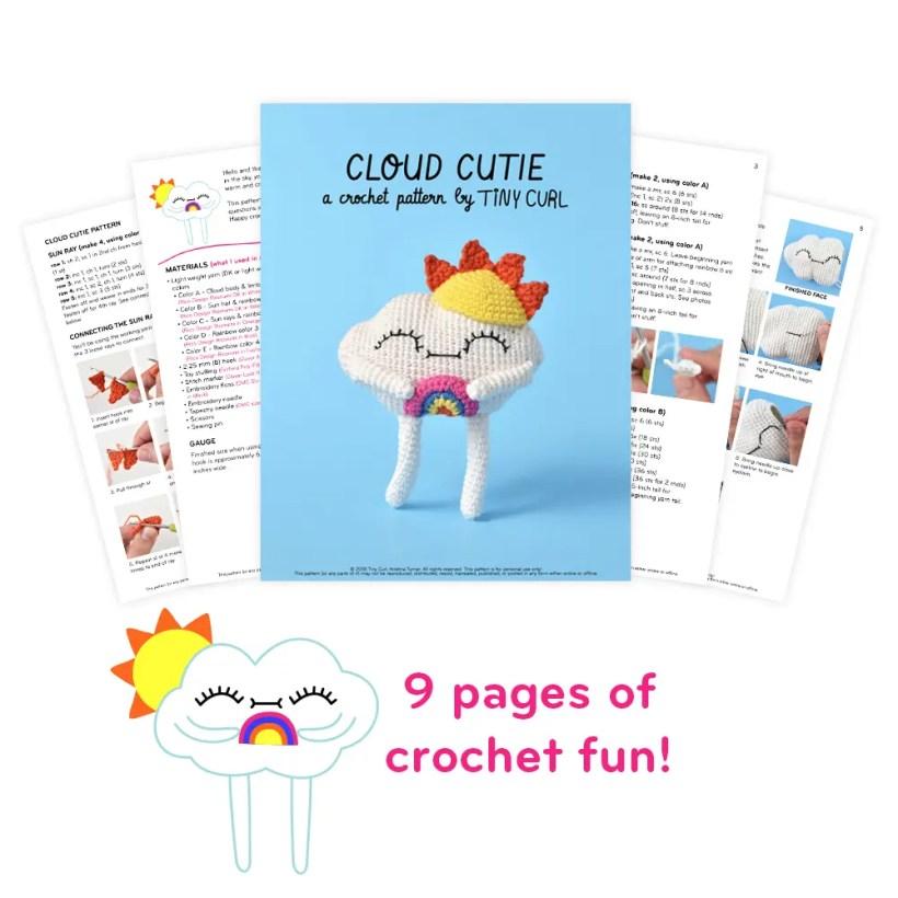 Amigurumi Rainbow Cloud Cutie doll showing off the ad free PDF version of the free crochet pattern.