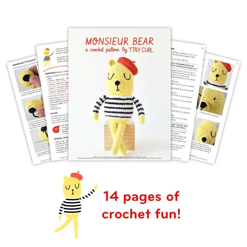 Showing the ad free crochet pattern version available through Etsy. This Monsieur Bear amigurumi pattern was made by Tiny Curl.