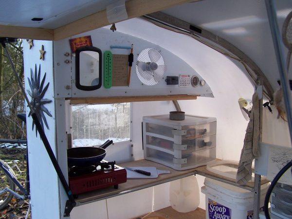 A Real Bike Trailer House kitchen