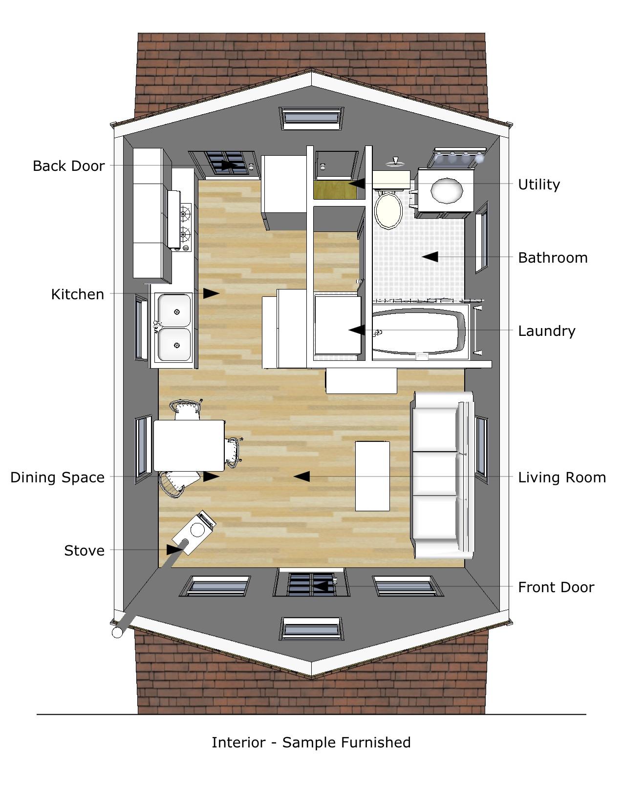 Pioneer s cabin 16 20 v2 interior for Home design 6 x 20