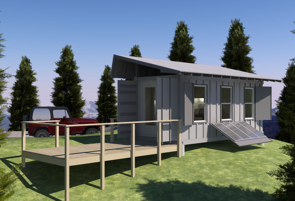 Tiny Home Designs: Shipping Container Based Remote Cabin Design Concept