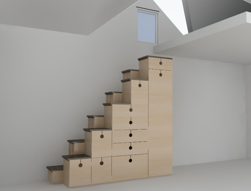 Alternating Step Tansu Tiny House Stairs