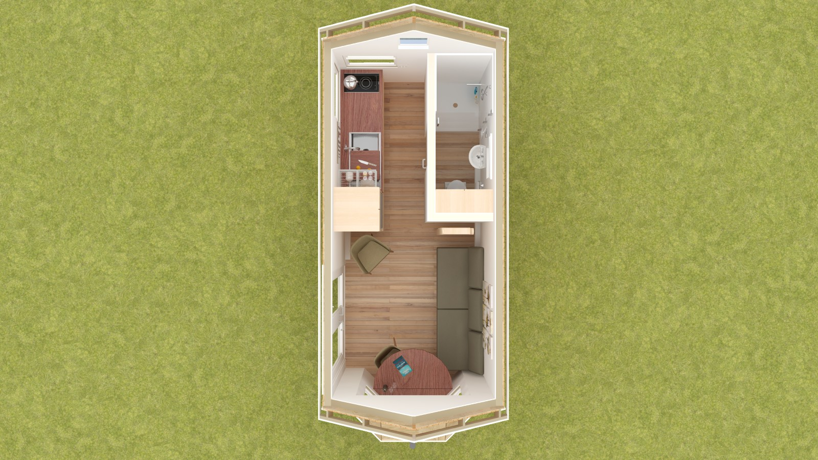 Cleone 16 Tiny House Floor Plan Lower Level
