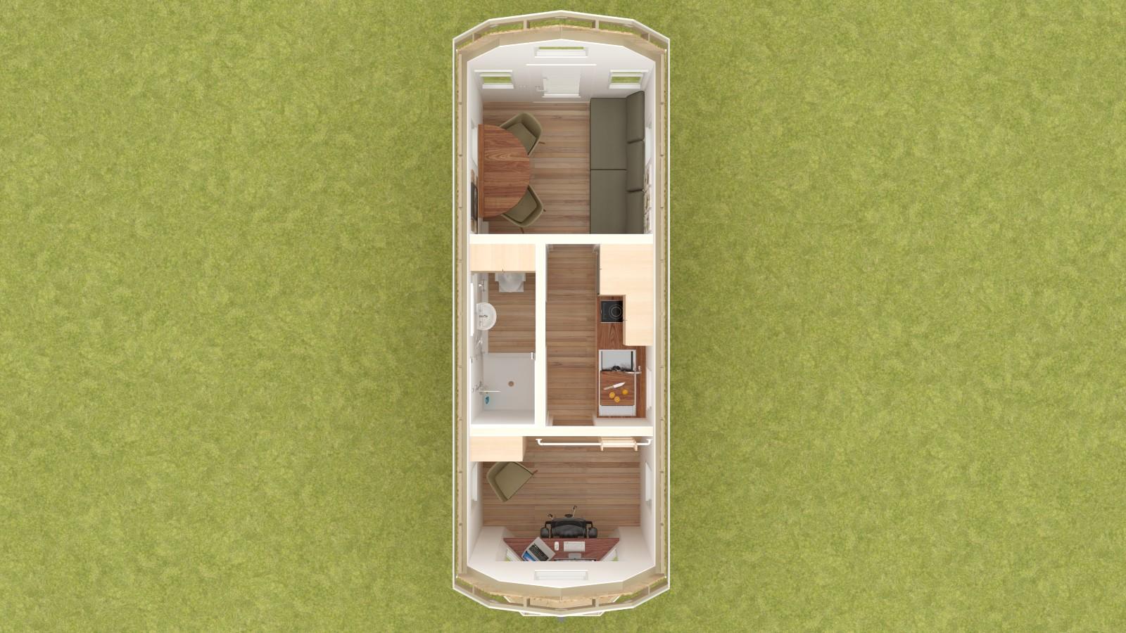 Covelo 20 Tiny House Floor Plan Lower Level