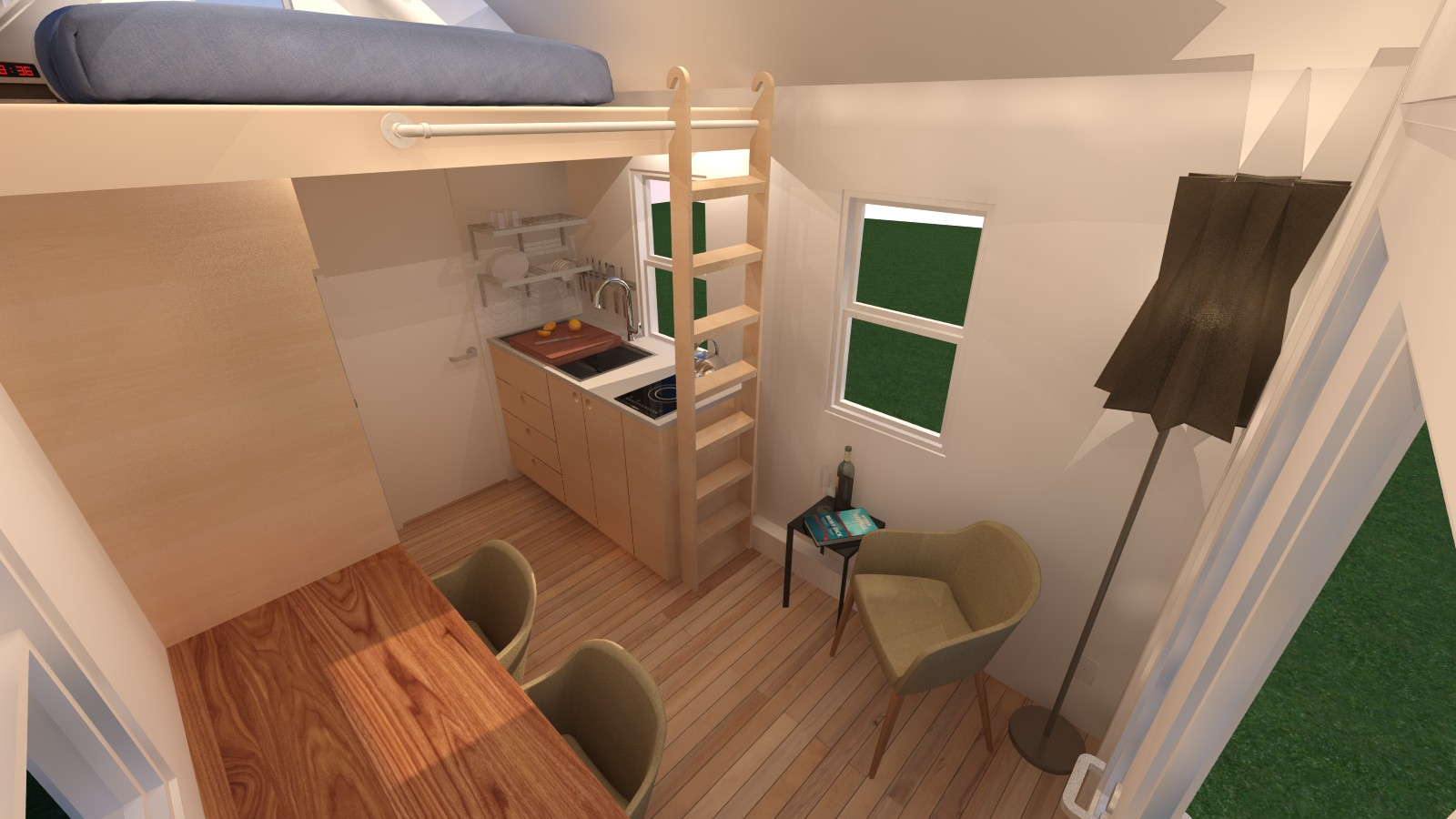 Manchester Exterior Front Right Manchester 14 Tiny House   Interior Living  Room ...