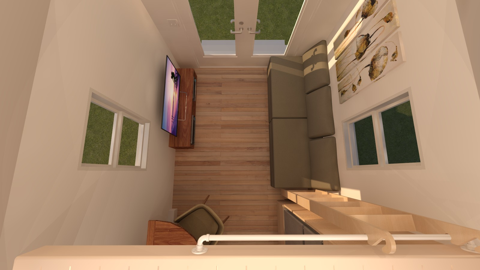 Redwood Valley Tiny House Interior View from Main Loft