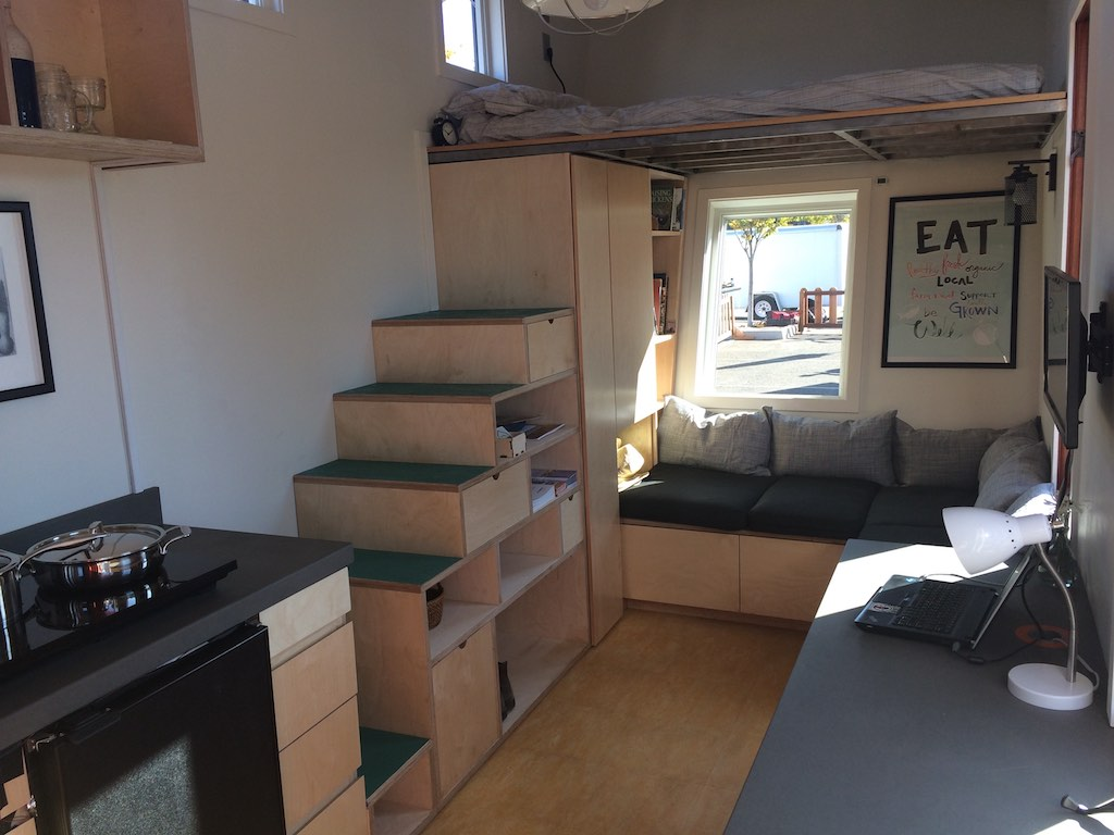 Stairs and Living Room - The Wedge - Net Zero Tiny House