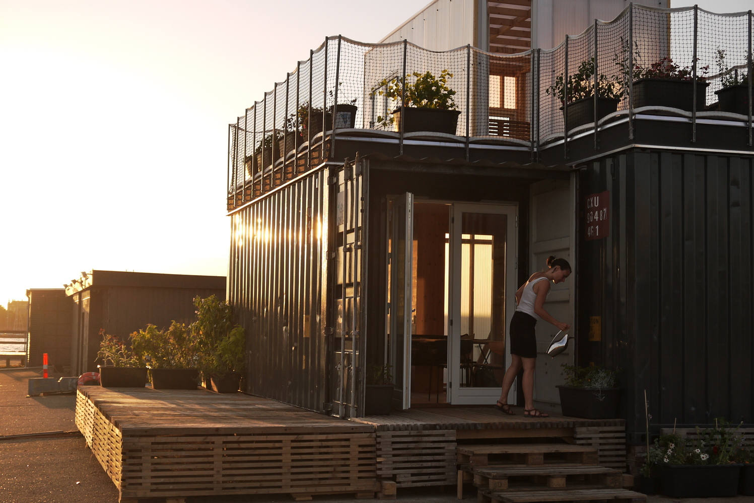 Shipping Container Student Housing in Copenhagen - Exterior at Sunset
