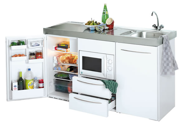 Commercial 1500mm Wide Silver Mini Kitchen without Hob