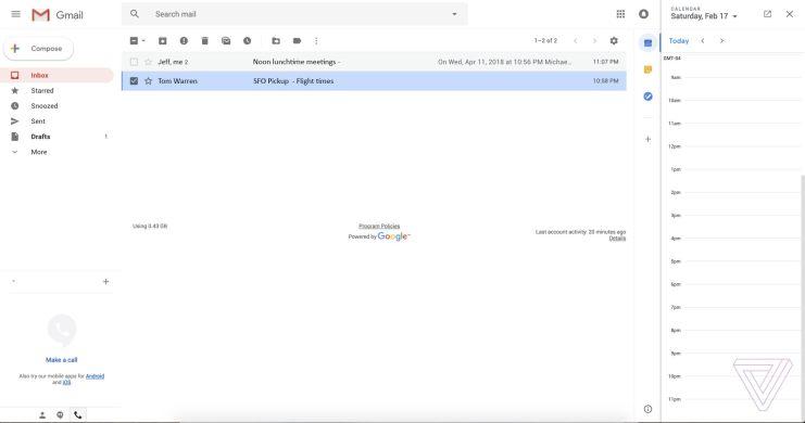 Nouveau design de Gmail