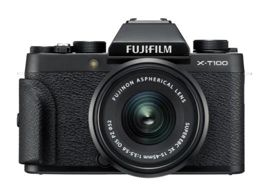 FUJIFILM_X_T100_Black_Front_Grip_XC15_45mmB