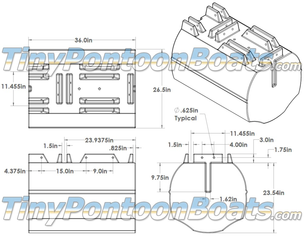 medium resolution of above we have dimensioned diagrams showing the 26 straight pontoon segments but we have also provided a 3 d cad drawing of this float segment to make