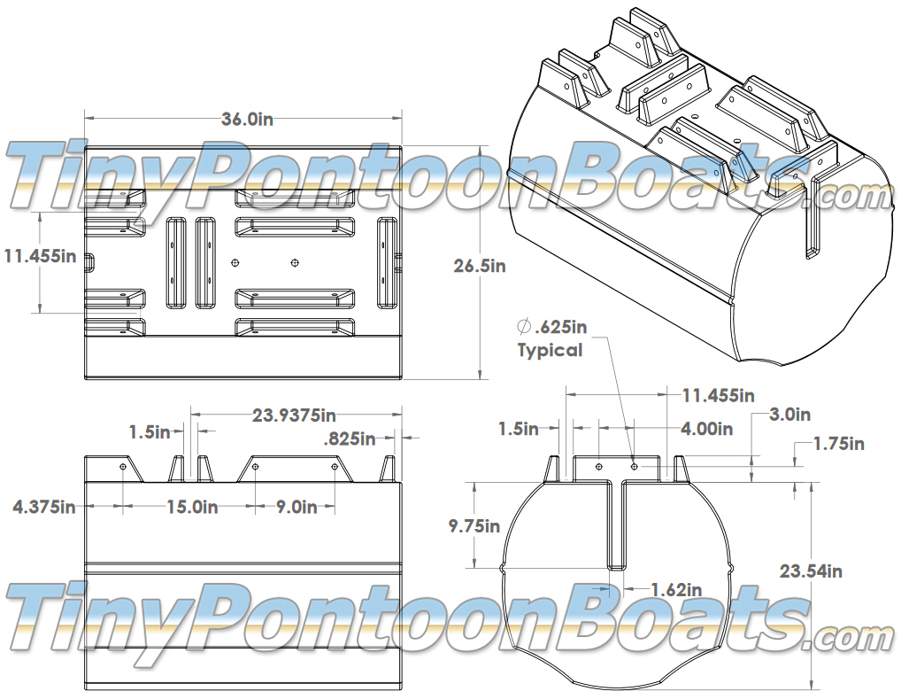 hight resolution of above we have dimensioned diagrams showing the 26 straight pontoon segments but we have also provided a 3 d cad drawing of this float segment to make