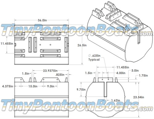small resolution of above we have dimensioned diagrams showing the 26 straight pontoon segments but we have also provided a 3 d cad drawing of this float segment to make