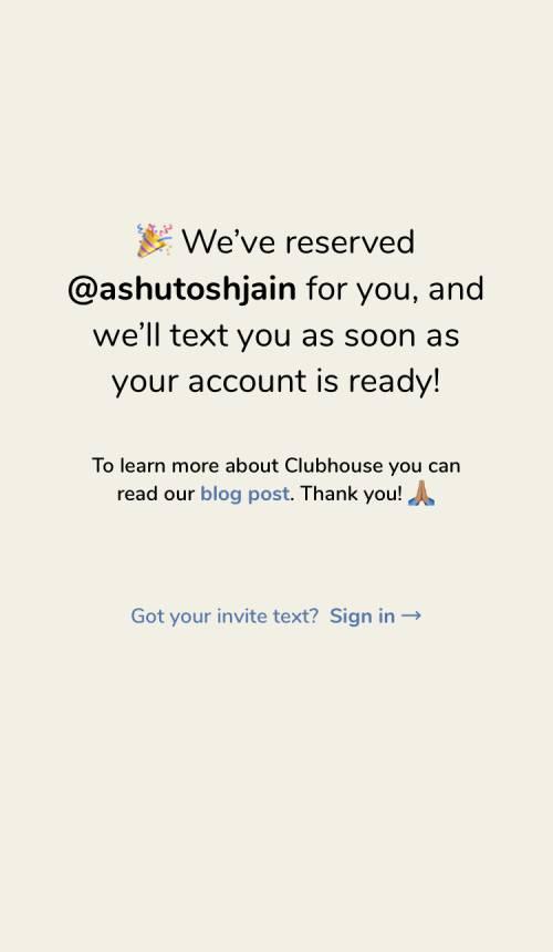 username on clubhouse app invite