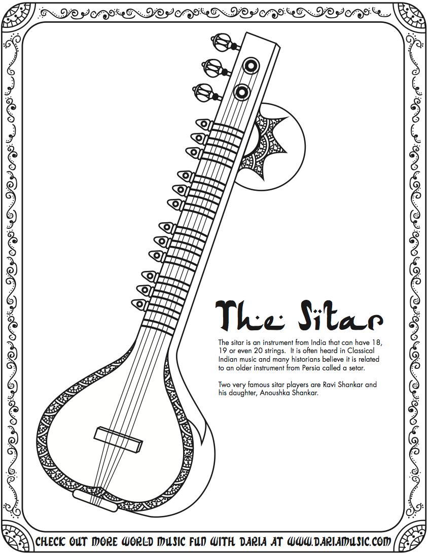 Free hawaiian ukulele coloring pages