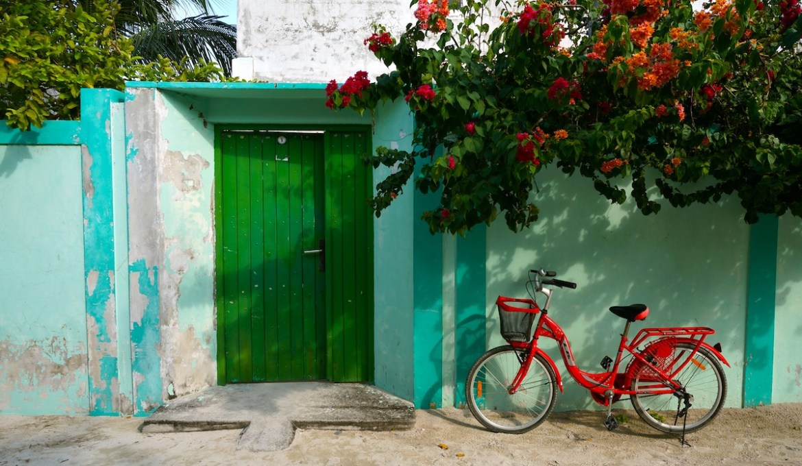 red bicycle on maldives