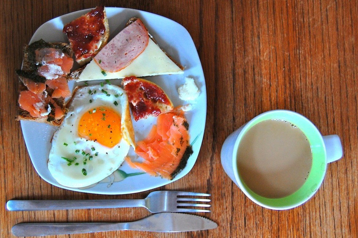 A simple german breakfast with coffee