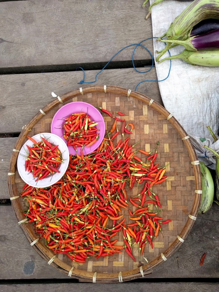Fiery chillies selling on Banda Neira pier