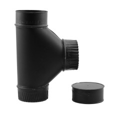 Gray Pipe 4 Inch Single-Wall Tee with Cap