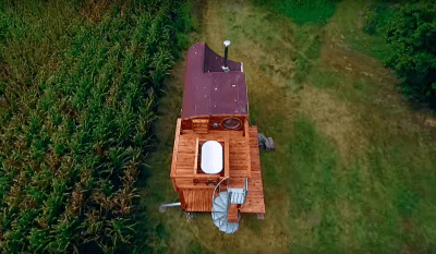Drone shot of the unique tiny house roofline