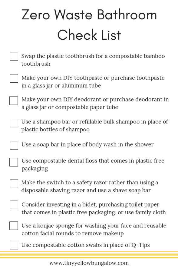 Zero Waste Bathroom Check List