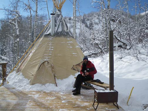 Marks 20ft cozy home with smokestack  Nomadics Tipi Makers