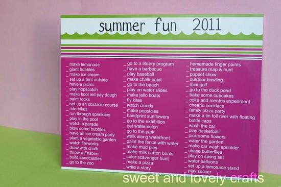 free Summer Fun List
