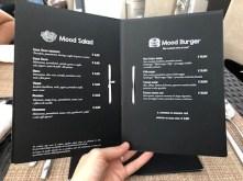 fogli interni del menù realizzati con foglio nero stampato in bianco