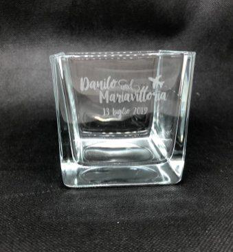 Vasetto in vetro con incisione laser