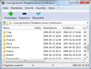7-Zip Programmfenster