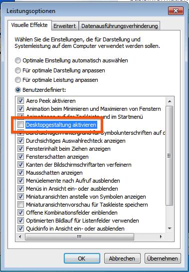 Option Desktopgestaltung aktivieren ausschalten