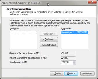 Win7 Datenträgerverwaltung Assistent zum Erweitern