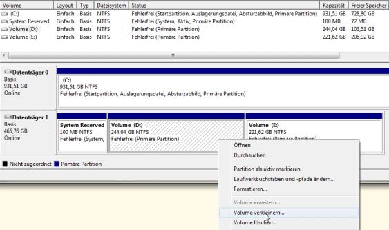 Win7 Datenträgerverwaltung Übersicht
